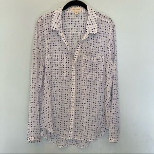 Cloth & stone blouse size large hi lo hem buttons